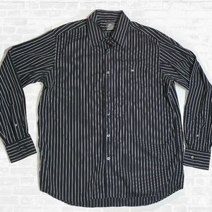Lacoste size 44 black striped button up shirt